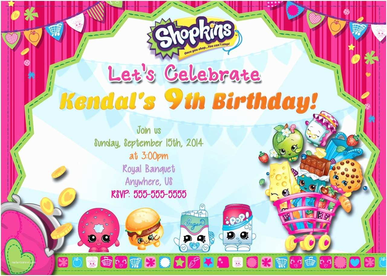 Shopkins Party Invitations Shopkins Birthday Invitations