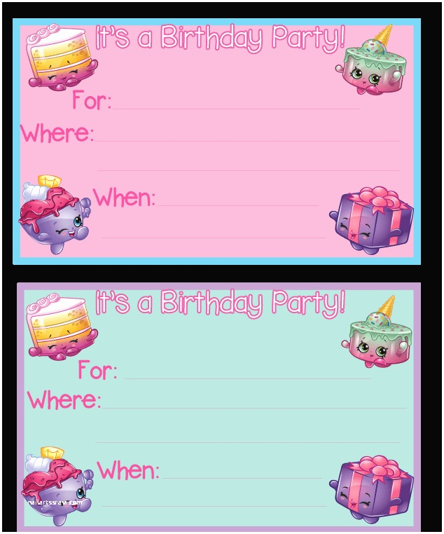 Shopkins Party Invitations Birthday Printables