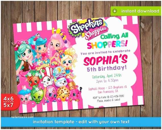 Shopkins Party Invitations Shopkins Invitation Printable Birthday Party Invite by