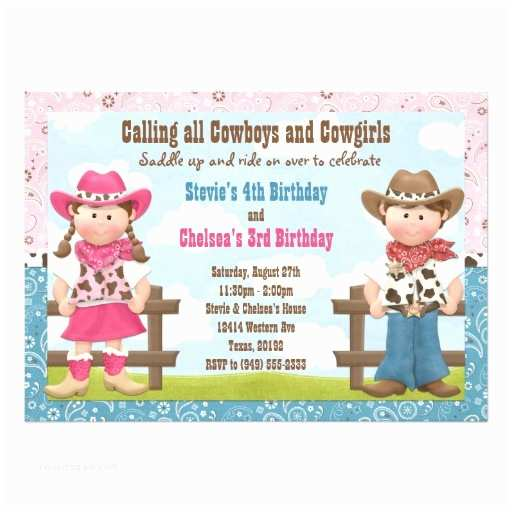 Sibling Birthday Party Invitations Cowboy and Cowgirl Joint Sibling Birthday Party 5x7 Paper