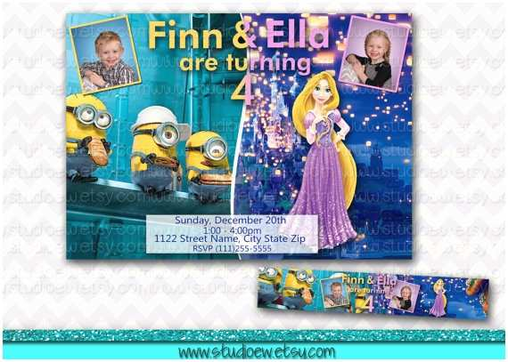 Sibling Birthday Party Invitations Double Birthday Party Invitation Sibling Birthday Joint
