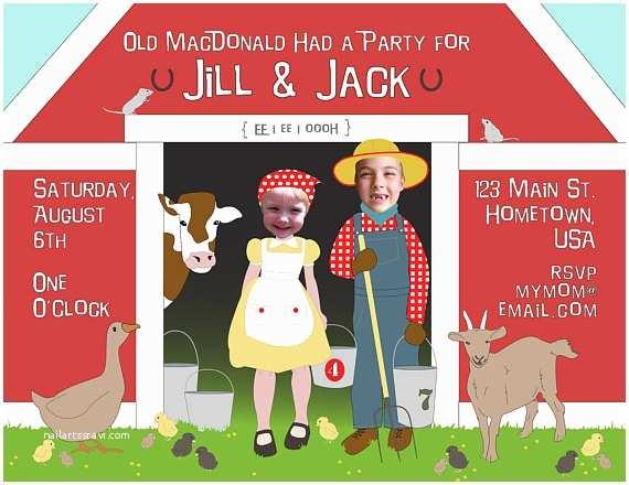 Sibling Birthday Party Invitations Farmer Sibling Birthday Party Invitation by Littleandthegirl