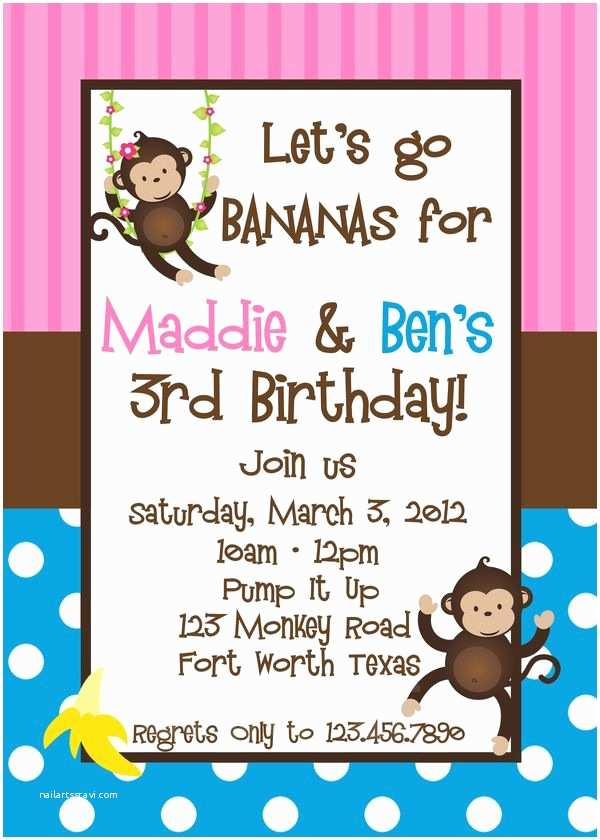 Sibling Birthday Party Invitations Printable Birthday Invitations Twins Sibling Party