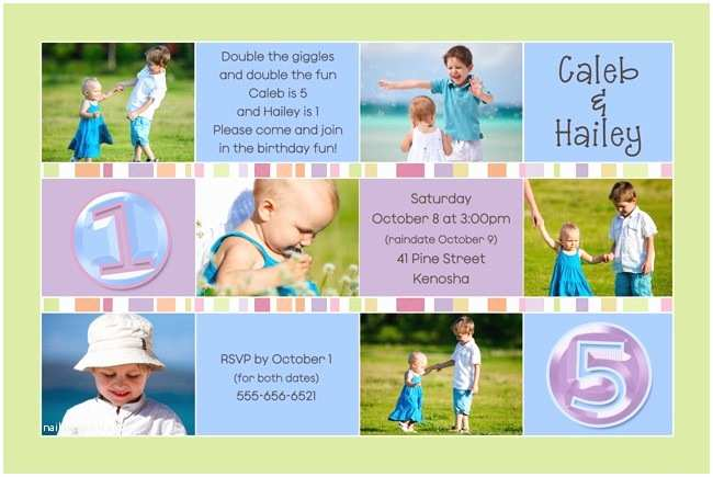 Sibling Birthday Party Invitations Sibling Birthday Invitation Double Boy & Girl Party