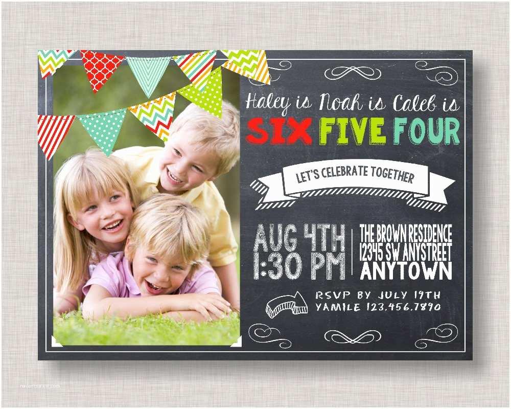 Sibling Birthday Party Invitations Sibling Birthday Invitation Joint Birthday Invitation