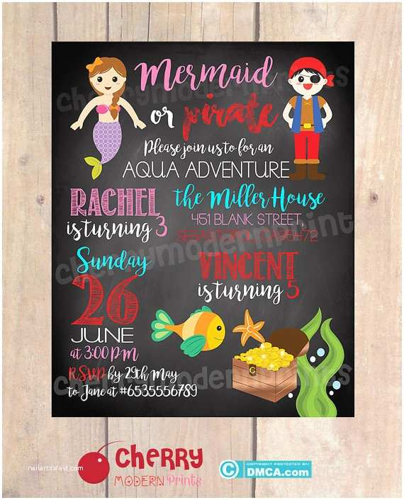 Sibling Birthday Party Invitations Sibling Birthday Invitation Mermaid & Pirate theme