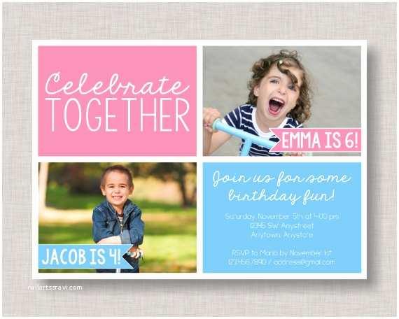 Sibling Birthday Party Invitations Sibling Birthday Invitation Sibling Invitation Joint