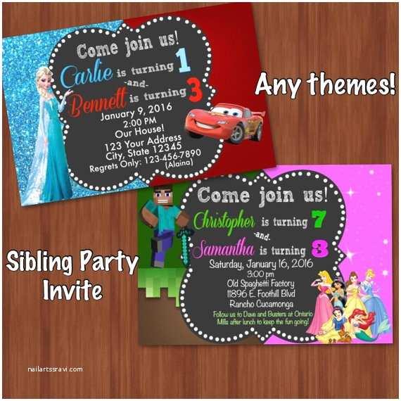 Sibling Birthday Party Invitations Sibling Birthday Invitation Split Invitation by