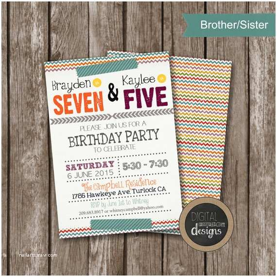 joint sibling birthday party invitations