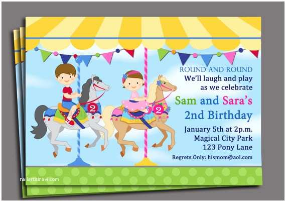Sibling Birthday Party Invitations Sibling Carousel Birthday Invitation Printable or Printed
