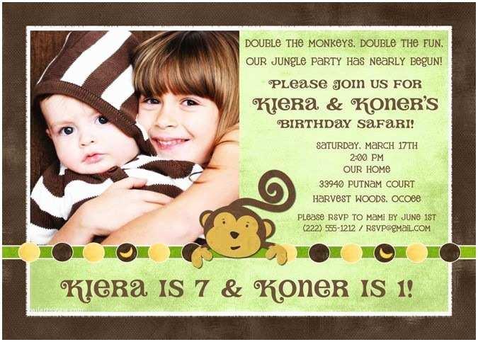 Sibling Birthday Party Invitations Sibling Monkey Birthday Invitation S Banana Double