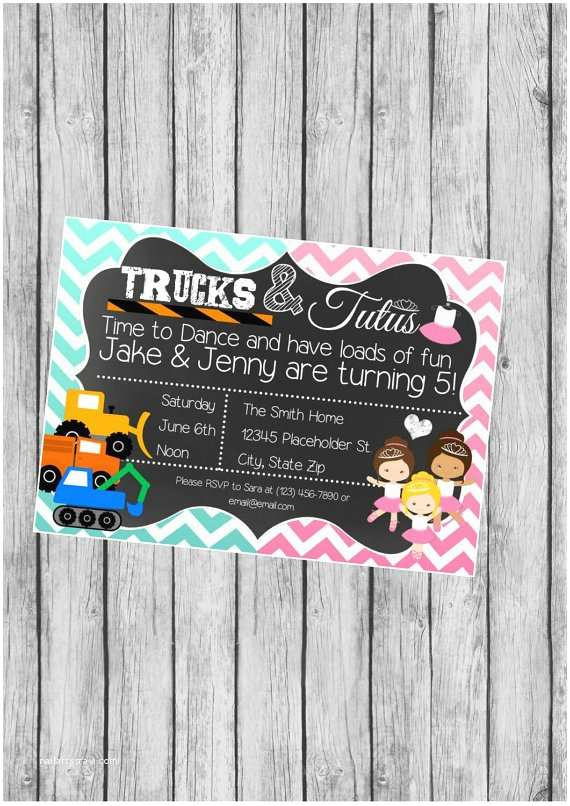 Sibling Birthday Party Invitations Twin or Sibling Birthday Party Invite Trucks by Creativekittle