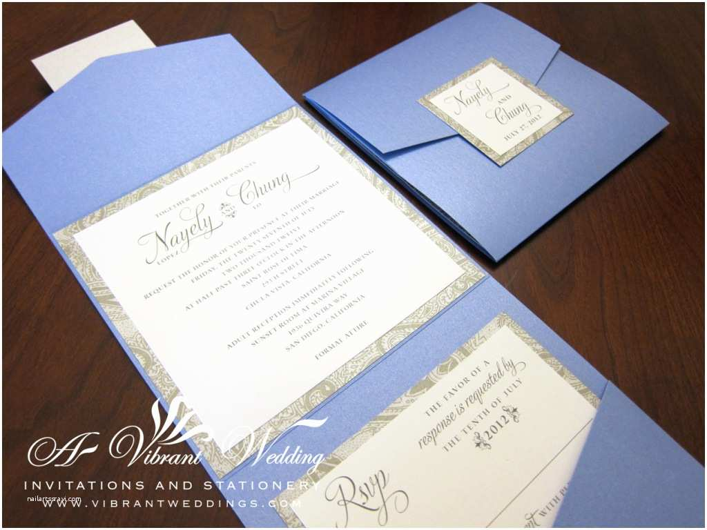 Silver Wedding Invitations Blue and Silver Wedding Invitation