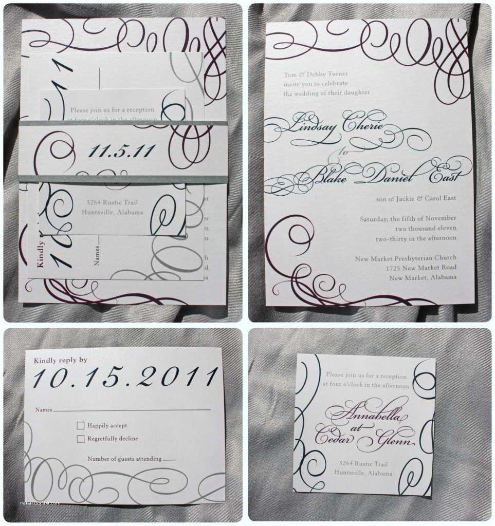 Silver Wedding Invitations Eggplant Navy & Silver Metallic asymmetric Swirl Belly
