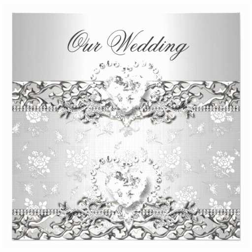 "Silver Wedding Invitations Elegant Wedding Silver White Diamond Heart 5 25"" Square"