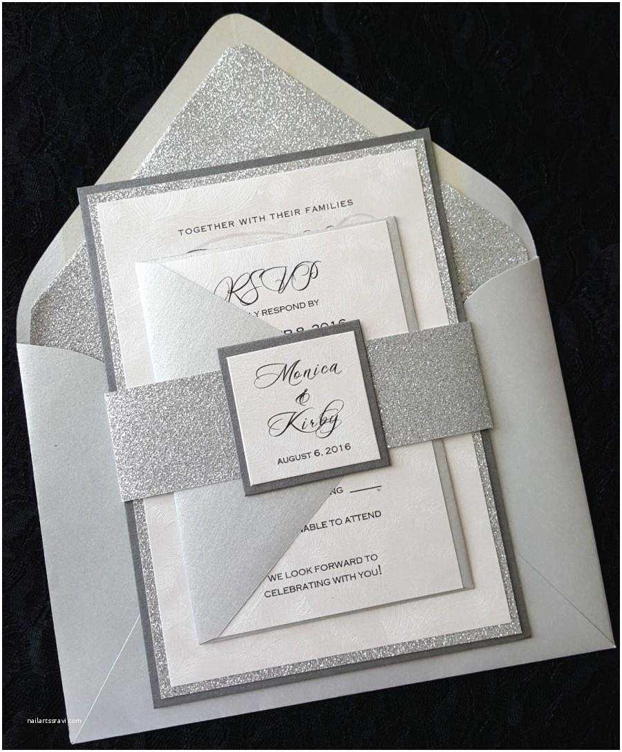 Silver Wedding Invitations Glitter Wedding Invitation Silver Glitter Wedding