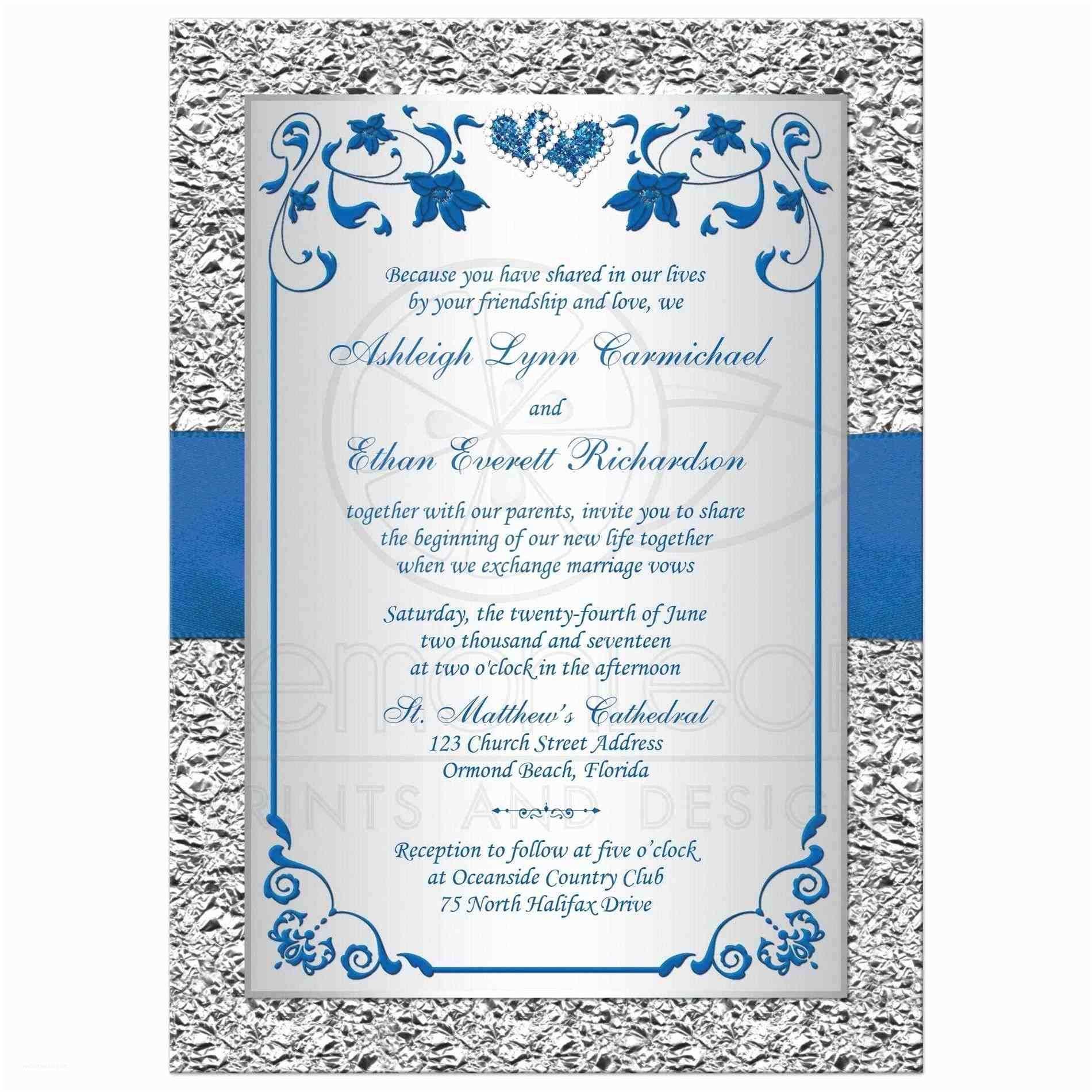 Silver Wedding Invitations Royal Blue and Silver Wedding Invitations
