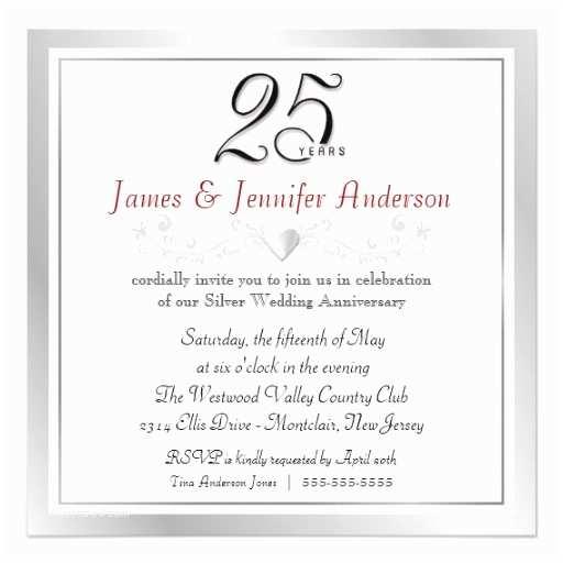 Silver Wedding Invitations Templates 25th Wedding Anniversary Party Invitations