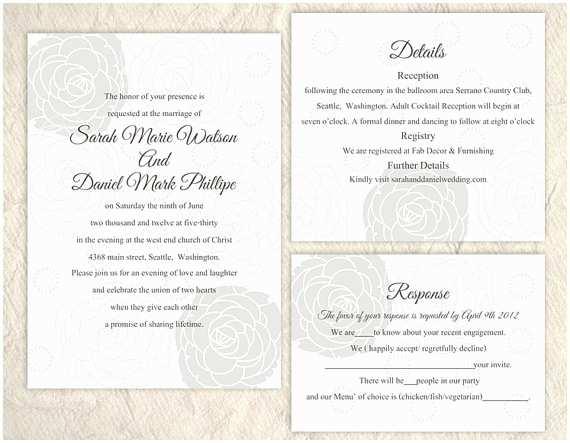 Silver Wedding Invitations Templates Diy Wedding Invitation Template Set Editable Word File