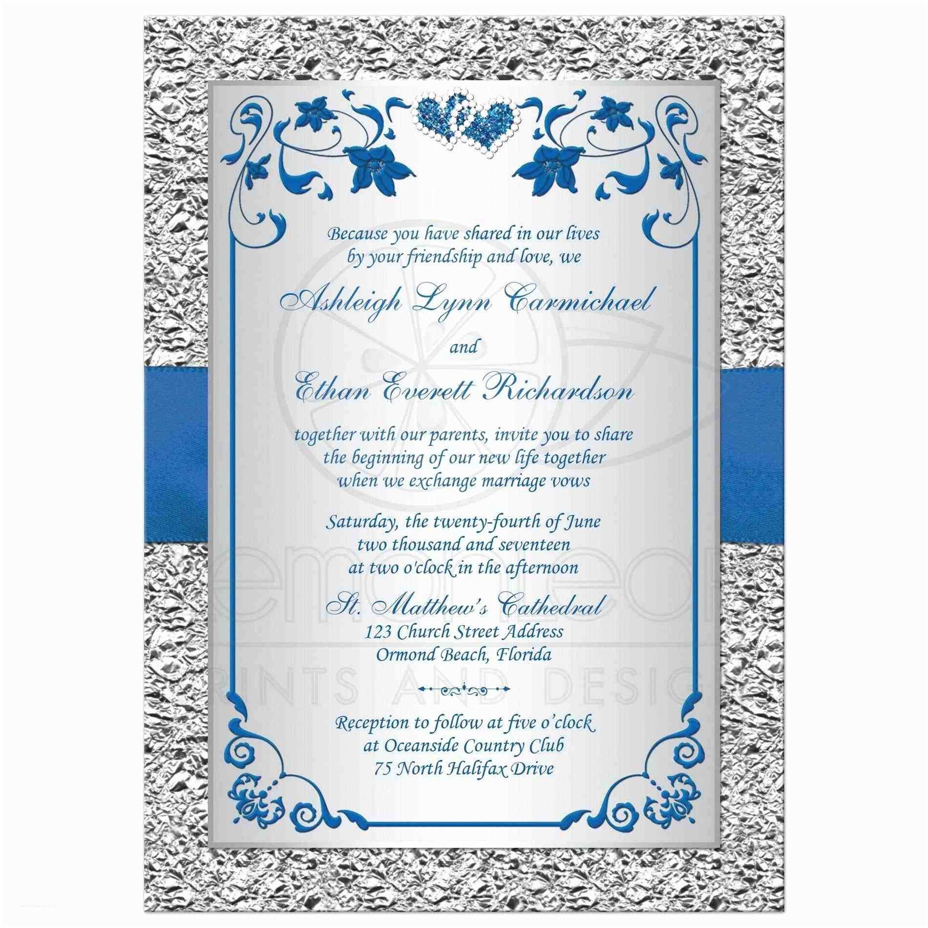 Silver Wedding Invitations Templates Royal Blue and Silver Wedding Invitations