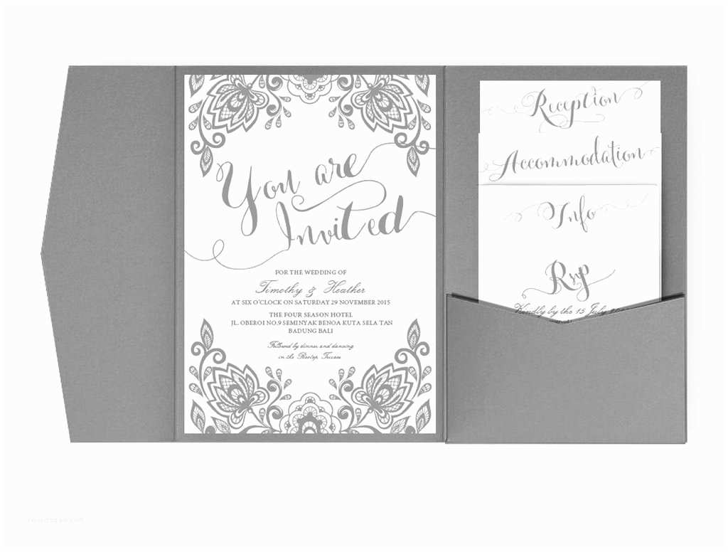 Silver Wedding Invitations Templates Wedding Pocket Fold Invites – Xo Bspoke