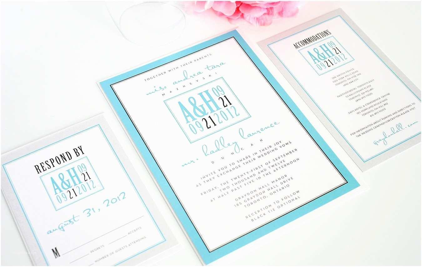 Silver Wedding Invitations Tiffany Blue and Silver Wedding Invitation – Wedding