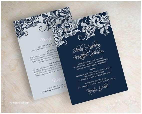 wedding invitations victorian filigree pattern design wedding stationery in navy blue silver and white jora