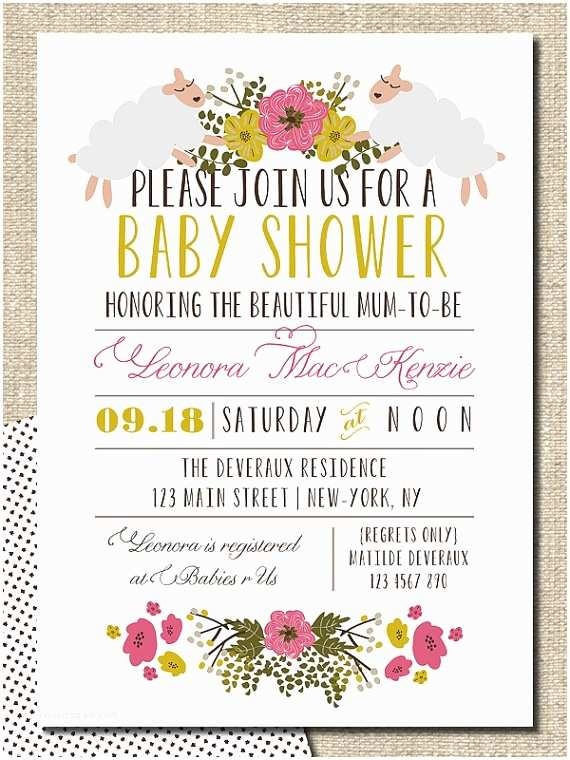 Simple Baby Shower Invitations Baby Shower Invitation Diy Printable Invitation Floral