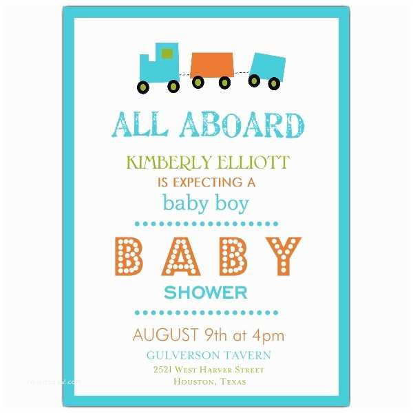 Simple Baby Shower Invitations Mod Simple Train Baby Shower Invitations