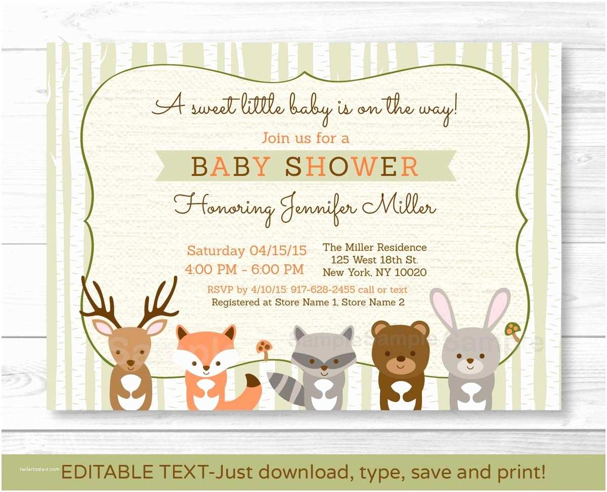 Simple Baby Shower Invitations Woodland Creatures Baby Shower Invitations Woodland