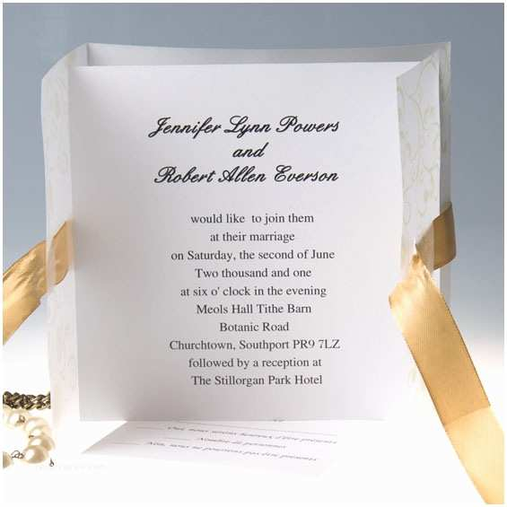 Simple Elegant Wedding Invitations Elegant Gold Ribbon Gate Fold Wedding Invitations Ewri005