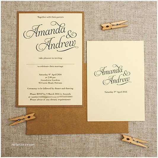 Simple Elegant Wedding Invitations Kraft & Cream Rustic Wedding Invitations Be My Guest