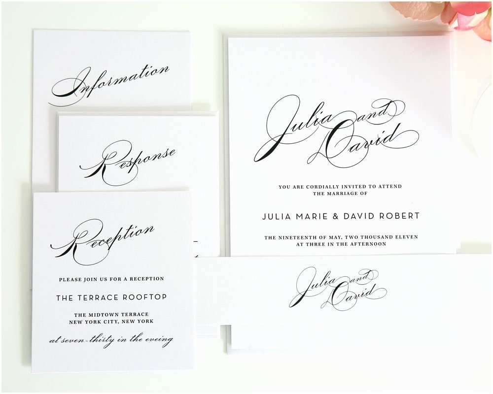 Simple Elegant Wedding Invitations Simple Wedding Invitation Suite with Names – Wedding