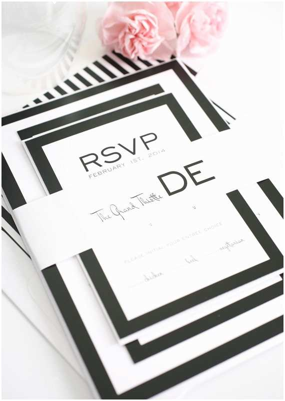 Simple Monogram Wedding Invitations Black and White Wedding Invitation Simple Monogram Bold