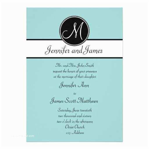 "Simple Monogram Wedding Invitations Blue Black Monogram Simple Wedding Invitations 5"" X 7"
