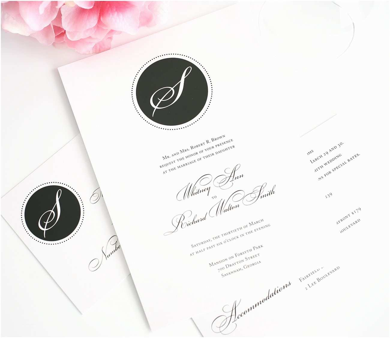 Simple Monogram Wedding Invitations Classic Wedding Invitations In Black and White with