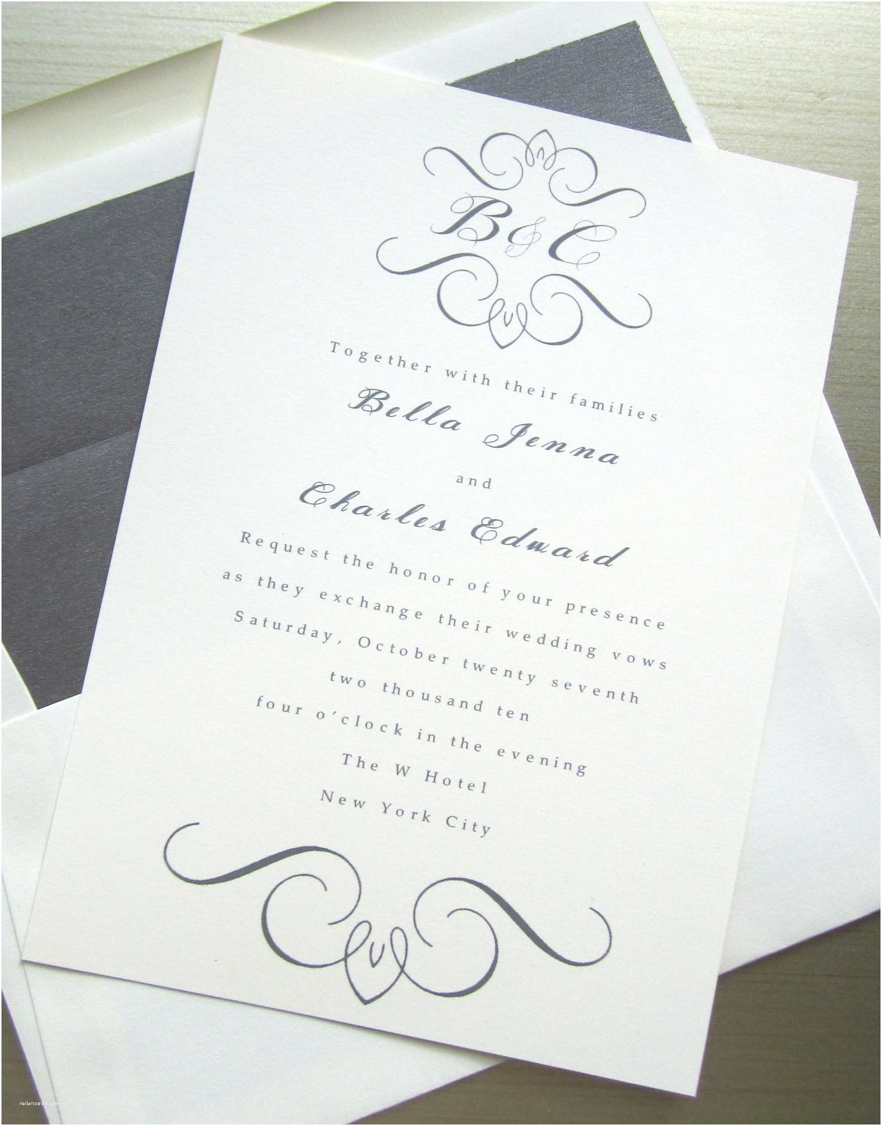 Simple Monogram Wedding Invitations Elegant Wedding Invites White Gray with Custom Monogram