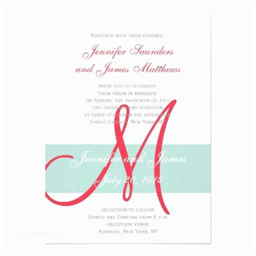 Simple Monogram Wedding Invitations Mint Green Red Monogram Names Simple Wedding 5x7 Paper