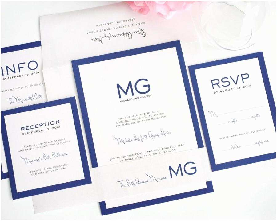 Simple Monogram Wedding Invitations Modern Wedding Invitation Wedding Invite Blue Simple