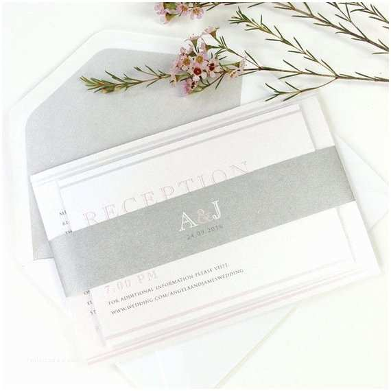 Simple Monogram Wedding Invitations Monogram Grey Pink Elegant Simple sophisticated Modern Wedding