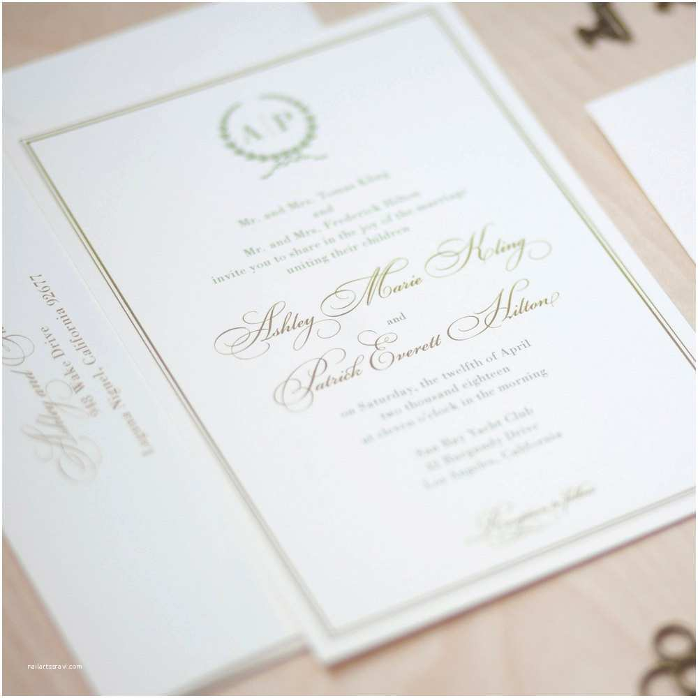 Simple Monogram Wedding Invitations Monogram Wedding Invitation Sage and Gold Invitation Olive