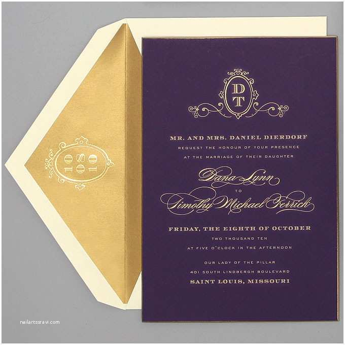 Simple Monogram Wedding Invitations Monogrammed Wedding Invitations formal Purple and Gold
