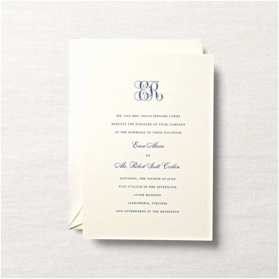 Simple Monogram Wedding Invitations Monogrammed Wedding Invitations Letterpress Royalty