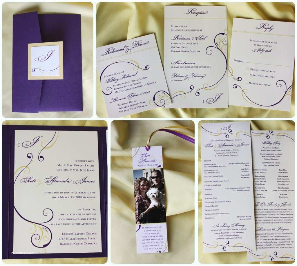 Simple Monogram Wedding Invitations Purple & Yellow Swirl with Monogram Pocketfold Wedding