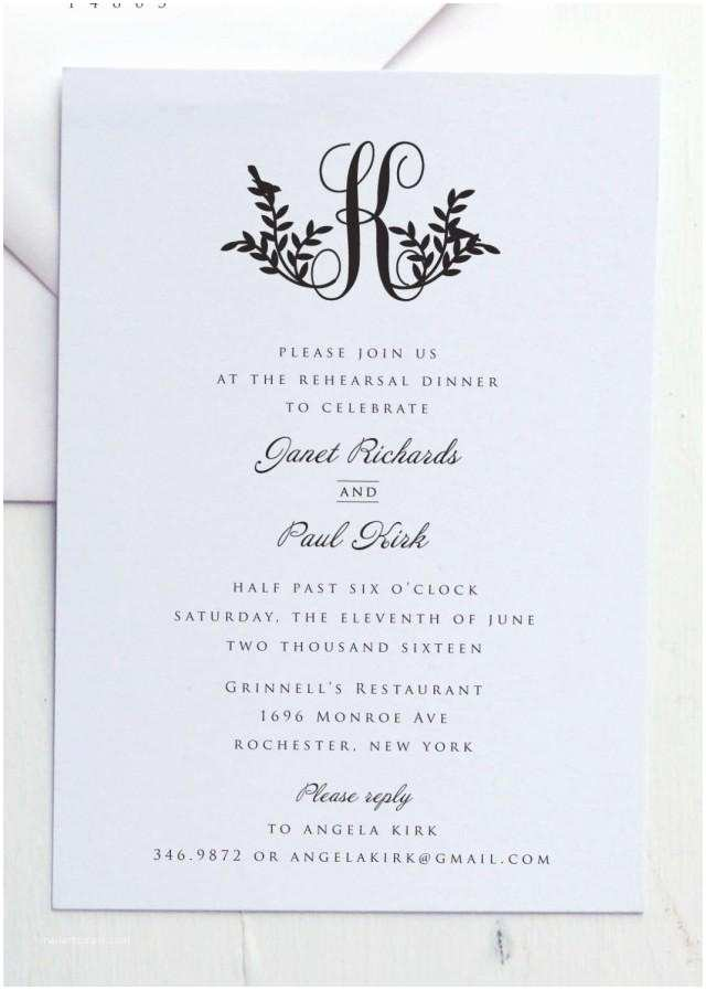 Simple Monogram Wedding Invitations Rehearsal Dinner Invitation by Jpress Designs Monogram