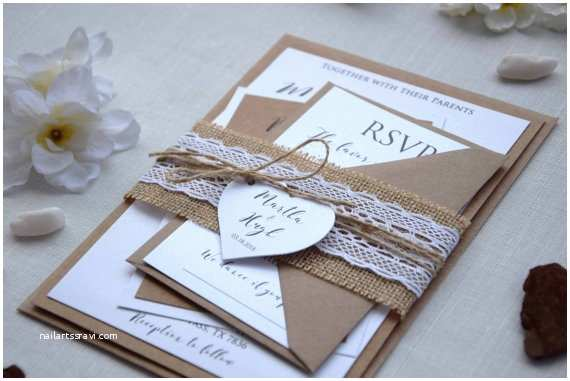 Simple Monogram Wedding Invitations Rustic Lace Wedding Invite Simple Wedding Invitation Lace