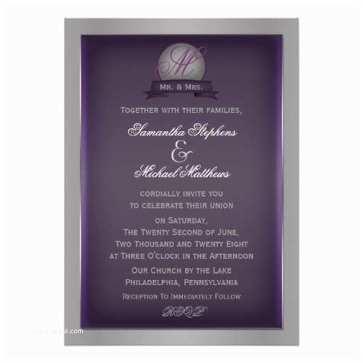 Simple Monogram Wedding Invitations Simple Elegant Purple Modern Monogram Wedding Custom