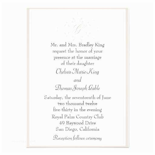 Simple Monogram Wedding Invitations Simple Light Tan Monogram Wedding Invitation