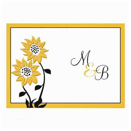 "Simple Monogram Wedding Invitations Simple Sunflowers Monogrammed Wedding Invitation 5"" X 7"