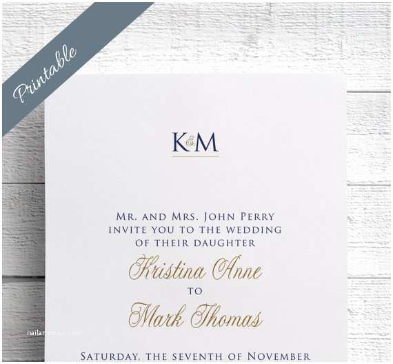 Simple Monogram Wedding Invitations Simple Wedding Invitations Printable Monogram by